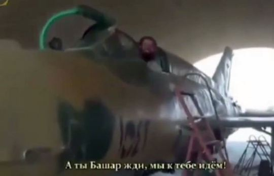 Threatening: The footage comes with Russian subtitles, but the voice of a Russian speaker can be heard too