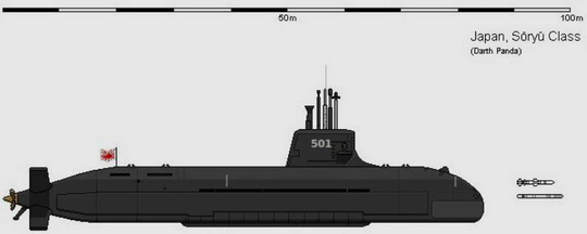 Tàu ngầm lớp Soryu chạy điện – diesel. Ảnh: Seaforces