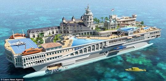 Siêu du thuyền tương lai của Monaco. Ảnh: Caters News Agency