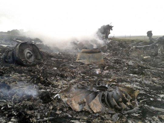 Hiện trường vụ máy bay MH17 bị rơi hôm 17-7. Ảnh: Reuters