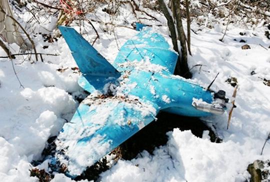 Một UAV của Triều Tiên được Hàn Quốc phát hiện tại khu vực biên giới tháng 10-2013. Ảnh: Korea Joongang Daily