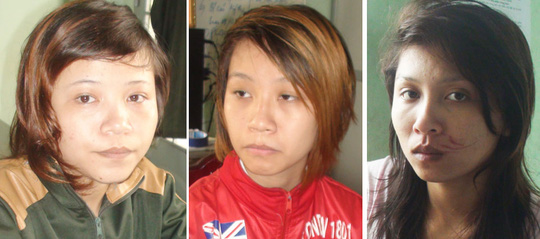 Các đối tượng: Hả, Hạnh, Trinh tại cơ quan công an huyện Thống Nhất