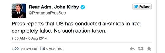 Ông John Kirby bác bỏ thông tin Mỹ không kích Iraq