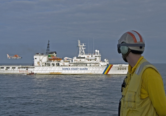 Hình ảnh một chiếc tàu tuần duyên Hàn Quốc