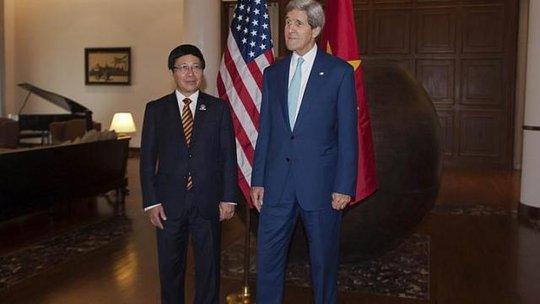 Cuộc gặp với Bộ trưởng ngoại giao Việt Nam Phạm Bình Minh hôm 9-8 đã mở đầu các cuộc thảo luận của Ngoại trưởng Mỹ John Kerry với giới chức các quốc gia Đông Nam Á trước thềm Diễn đàn an ninh khu vực ASEAN tại Myanmar.Ảnh: Reuters