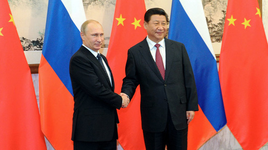 Russia's President Vladimir Putin shakes hands with his China's counterpart Xi Jinping (RIA Novosti/Mikhail Klimentiev)