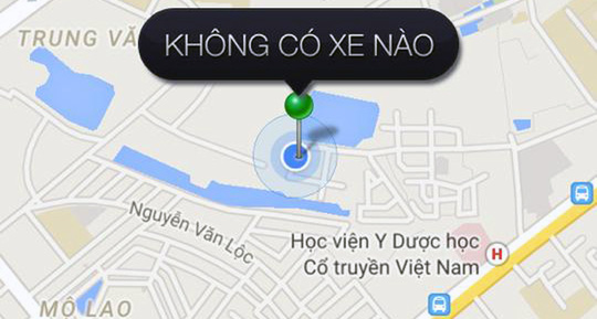 Việc tìm kiếm 1 xe Uber ở khu vực vành đai Hà Nội là khó khăn.