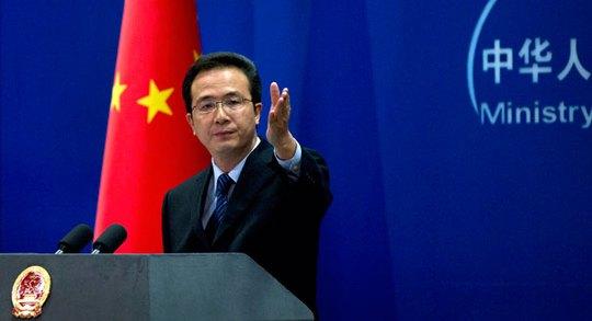 Ông Hồng Lỗi, phát ngôn viên Bộ ngoại giao Trung Quốc nói rằng Mỹ không có quyền tham gia vào các vấn đề của Hồng Kông. Ảnh: AP