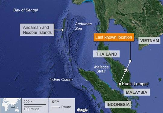 Chiếc máy bay được cho là hướng về quần đảo Andaman. Nguồn: BBC