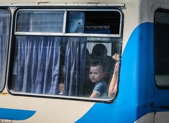 Một cậu bé trên xe buýt rời khỏi TP Donetsk hôm 13-8. Ảnh: EPA