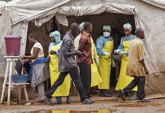 Các nhân viên y tế sàng lọc người nhiễm virus Ebola trước khi vào bệnh viện thủ đô Sierra Leone - một quốc gia Tây Phi nằm trong ổ dịch