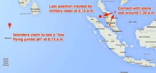 Cư dân Maldives (địa điểm ở phía trái) nói nhìn thấy một máy bay chở khách lớn sáng 8-3. Nguồn: Business Insider