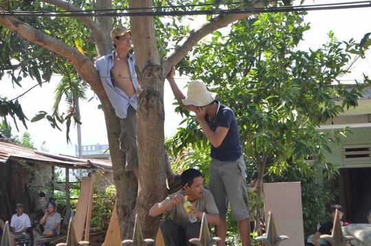 Người dân leo lên cây để xem bò tót cho an toàn
