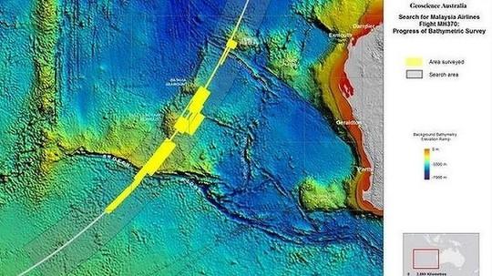 Bản đồ khu vực tìm kiếm MH370 ở Nam Ấn Độ Dương. Ảnh: ATSB