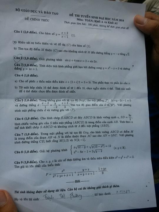 Gợi ý giải đề môn toán khối A, A1