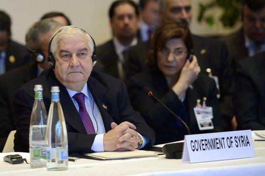 Ngoại trưởng Syria Walid al-Mouallem tại hội nghị. Ảnh: AP