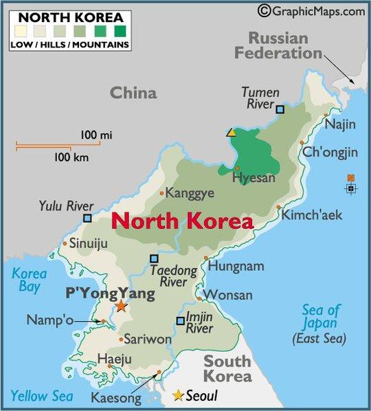 Sông Yalu và Tumen phân định ranh giới giữa Triều Tiên và Trung Quốc