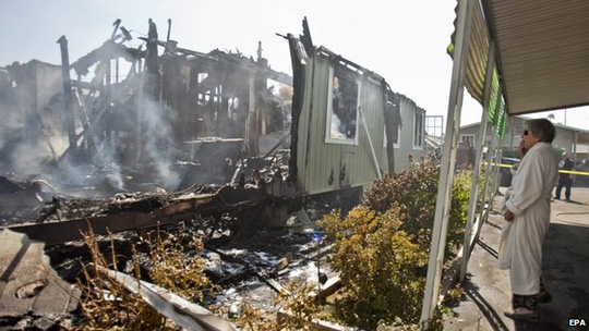 Nhiều nhà bị cháy ở Napa... Ảnh: EPA