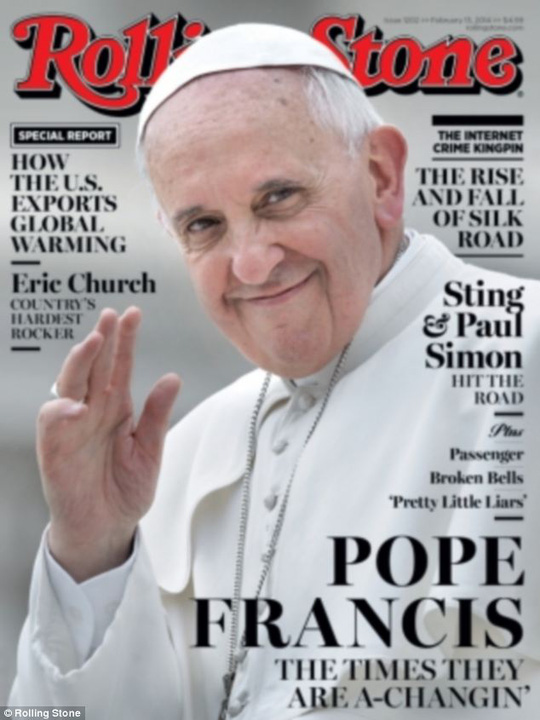 Giáo hoàng Francis trên bìa tạp chí Rolling Stone hôm 28-1. Ảnh: Rolling Stone