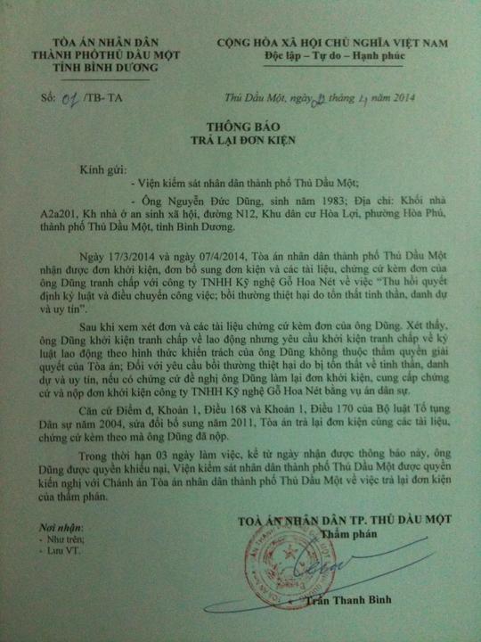Thông báo trả lại đơn kiện của TAND TP Thủ Dầu Một, Bình Dương