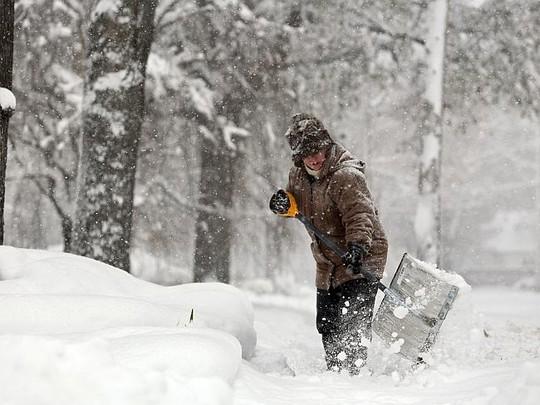 Quang cảnh trắng xóa tại bang Michigan. Ảnh: AP
