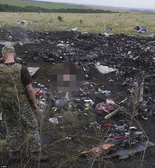 Thi thể hành khách trên chiếc máy bay MH17 lẫn trong đống đổ nát.