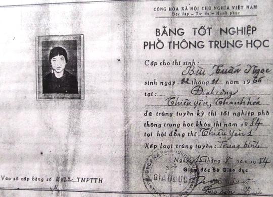 Tấm bằng tốt nghiệp giả mạo của ông Bùi Tuấn Ngọc.