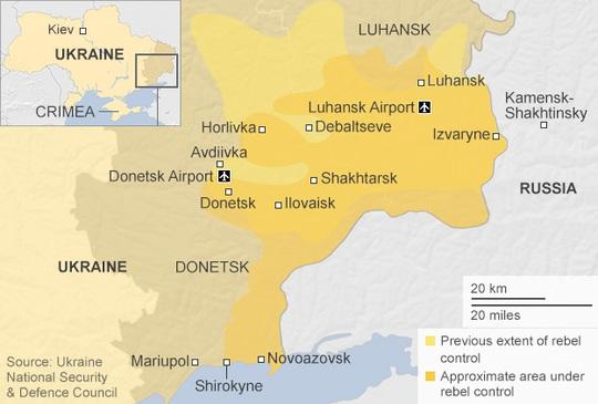 Miền Đông Ukraine, đặc biệt là khu vực Donetsk vẫn xảy ra xung đột dù thỏa thuận ngừng bắn phát huy hiệu lực ngày 5-9. Ảnh: BBC
