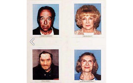 Bà Helen Golay (trên cùng bên phải) và bà Olga Rutterschmidt (dưới cùng bên phải) cùng 2 nạn nhân. Ảnh: LOS ANGELES POLICE DEPARTMENT