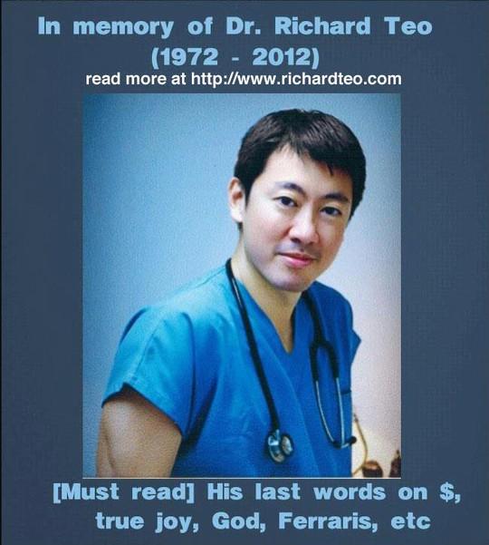 Bác sĩ Richard Teo cùng thông điệp được chia sẻ trên mạng