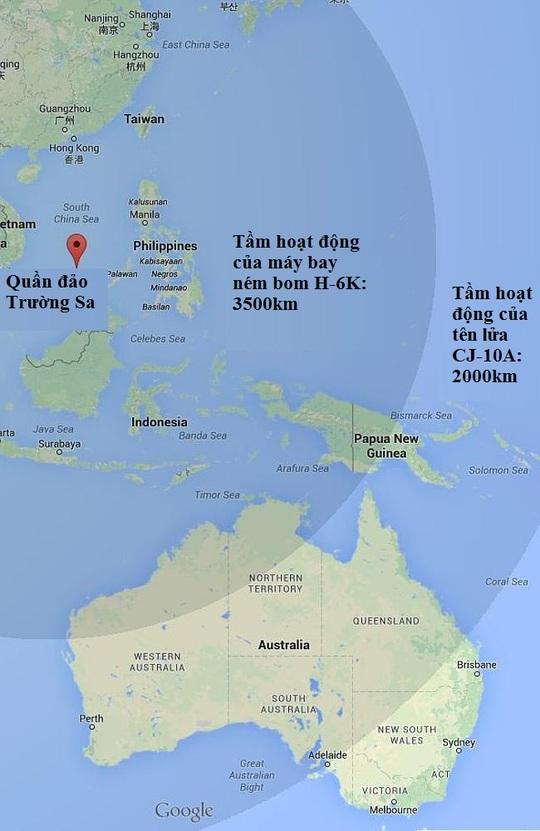 Tầm hoạt động của máy bay ném bom H-6K có thể gồm cả nước Úc. Nguồn: News Corp Australia