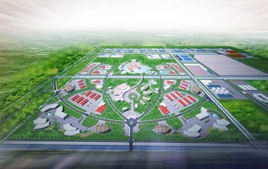Phối cảnh tổng thể hình hoa sen của Khu Công nghệ môi trường xanh ở Long An