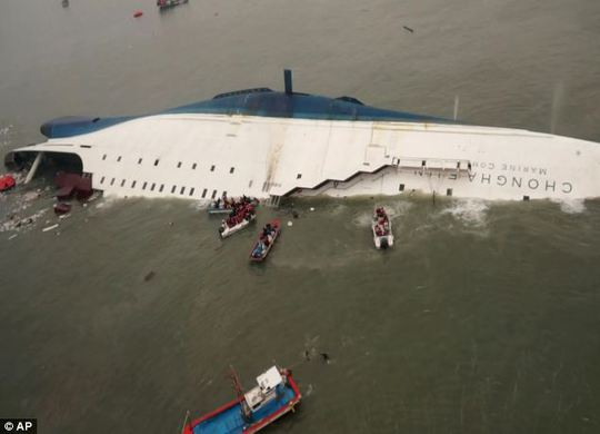 Tàu Sewol bị lật hôm 16-4.