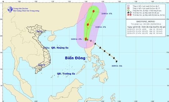 Vị trí và hướng di chuyển của bão Fung-Wong - Nguồn: Trung tâm Dự báo khí tượng thủy văn trung ương