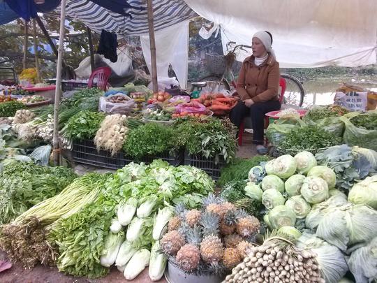 Sạp rau của chị Hoa rất nhiều rau ngon, mơn mởn và giá rẻ giật mình