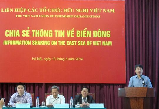 Buổi chia sẻ thông tin về biển Đông của Liên hiệp các Tổ chức Hữu nghị Việt Nam với các tổ chức phi chính phủ sáng 13-5