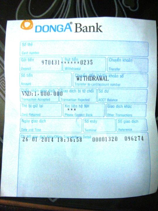 Thẻ ATM của ngân hàng Đông Á rút tiền được những ngân hàng ...