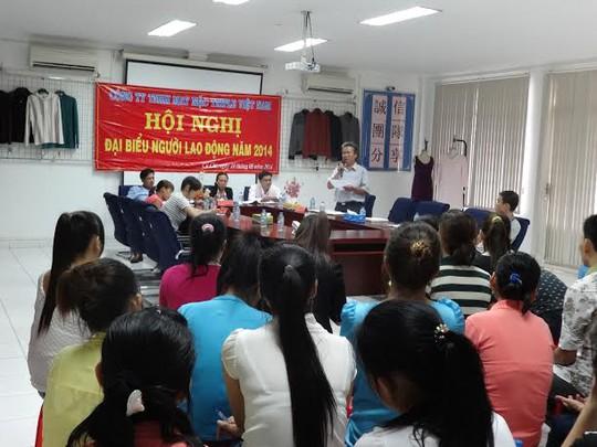 Đại diện LĐLĐ huyện Củ Chi, TP HCM, phát biểu tại Hội nghị Người Lao động Công ty Triple Việt Nam