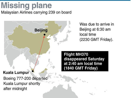 Lịch trình dự kiến và khu vực chiếc máy bay Boeing 777-300 ER bị mất tích