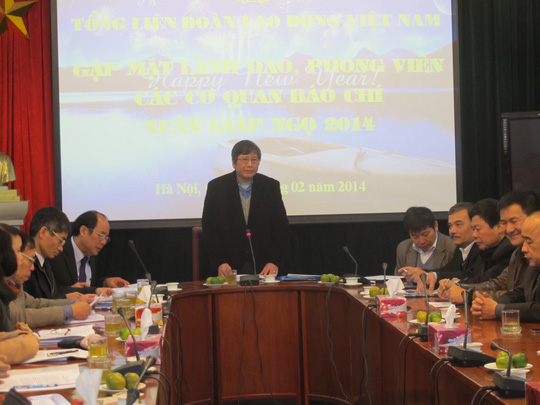 Ông Trần Thanh Hải-Phó Chủ tịch Thường trực Tổng LĐLĐ Việt Nam chủ trì buổi gặp gỡ báo chí đầu năm.