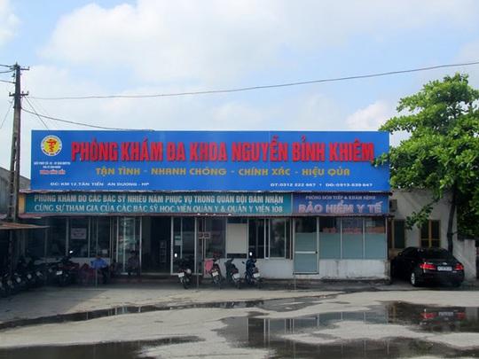 Phòng khám đa khoa Nguyễn Bỉnh Khiêm ở Hải Phòng, nơi xảy ra vụ việc chiếm đoạt gần 10 tỉ đồng BHYT