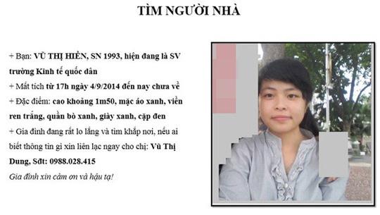 Thông báo tìm nữ sinh Vũ Thị Hiền được dán ở Trường ĐH Kinh tế quốc dân
