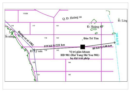 Dàn khoan HD 981 định vị khoan tại vị trí có tọa độ 15029' vĩ độ bắc, 111012' độ kinh đông, cách bờ biển Việt Nam khoảng 120 hải lý, nằm trong vùng đặc quyền kinh tế, thềm lục địa của Việt Nam - Ảnh: Tập đoàn dầu khí quốc gia Việt Nam