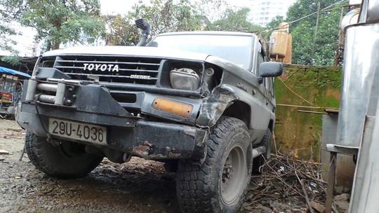 Chiếc xe gây tai nạn tại cơ quan công an