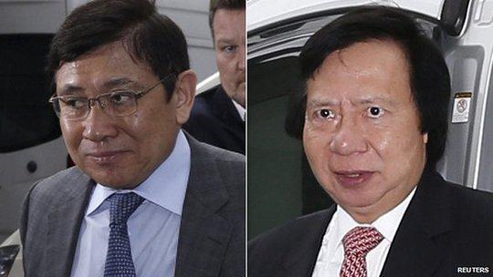 Ông Raymond Kwok (trái) và Thomas KwokHai (phải) cùng đứng vị trí thứ tư trong số những người giàu nhất Hồng Kông năm 2014. Ảnh: Reuters
