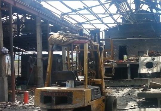 Hiện trường vụ nổ khiến 4 người bị thương nặng.