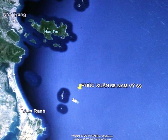 Vị trí tàu Phúc Xuân 68 bị chìm
