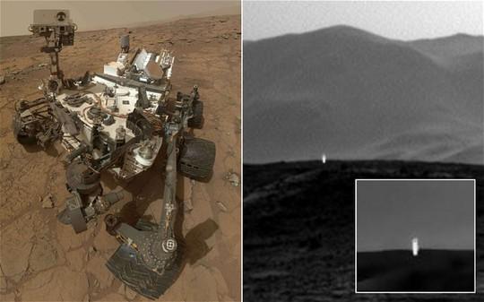 Curiosity và ảnh đốm sáng được cho là do tàu thăm dò này chụp được. Ảnh: Telegraph