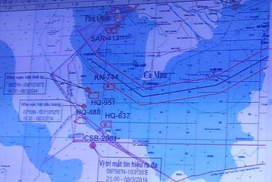 Sơ đồ khu vực tìm kiếm máy bay Malaysia