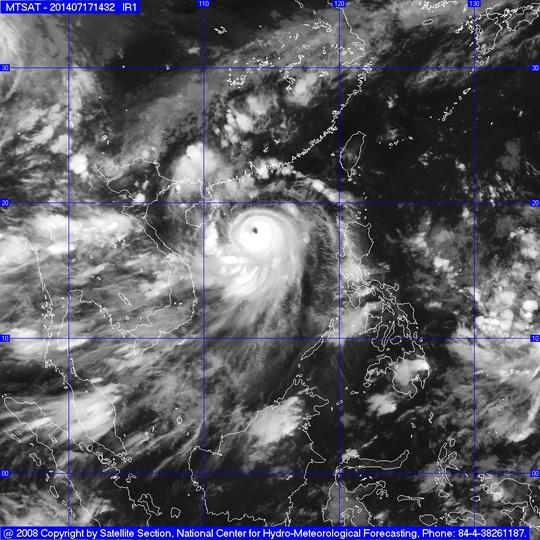 Ảnh mây vệ tinh của bão số 2. Nguồn: Trung tâm Dự báo KTTV Trung ương.